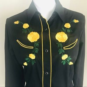 Vintage Style Western Shirt Embroidered Snaps